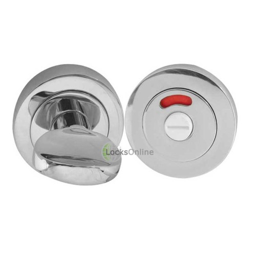 "LocksOnline Circular Framed ""Tab"" Bathroom Door Lock Set with Indicator"