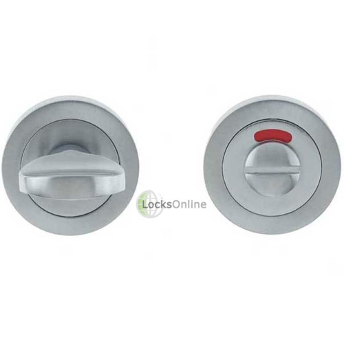 "Main photo of LocksOnline Circular Framed ""Tab"" Bathroom Door Lock Set with Indicator"