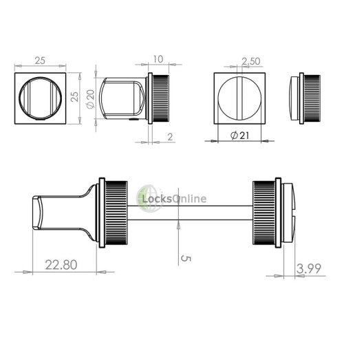 "LocksOnline ""Minimal"" Square Flush Fit Bathroom Door Lock Set"