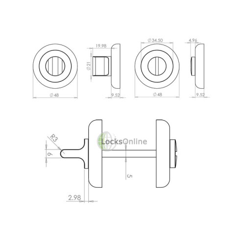 LocksOnline Round Bevelled Bathroom Door Lock Set
