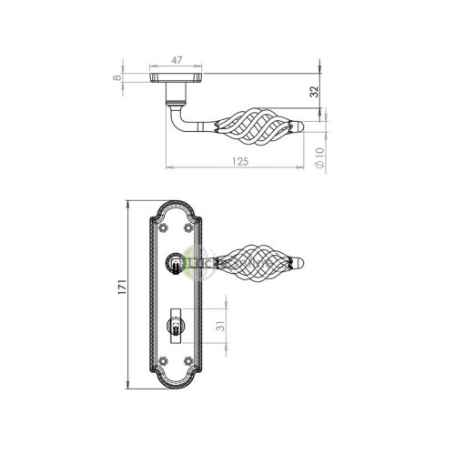 "Locksonline ""Cage"" Door Handle Set on Backplate"