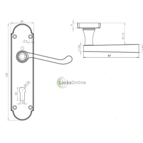 "LocksOnline ""Epsom"" Door Handle Set on Backplate"