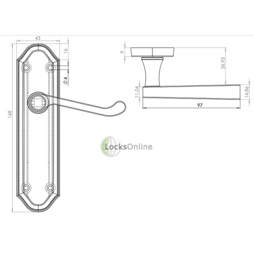 "LocksOnline ""Sherborne"" Door Handle Set on Backplate"