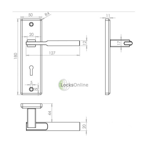 "LocksOnline ""Delta"" Door Handle Set on Backplate"