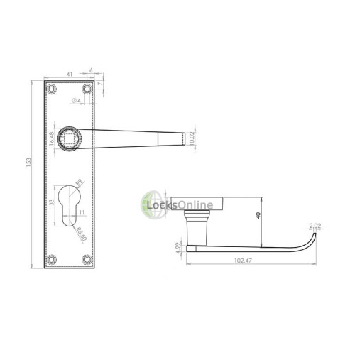 "LocksOnline ""Straight Victorian"" Door Handle Set on Backplate"