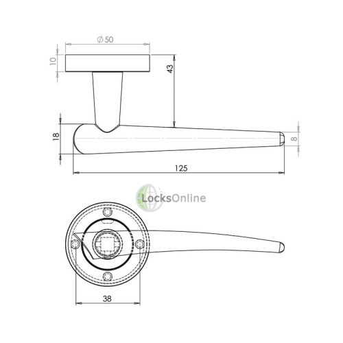 "LocksOnline ""Horn"" Lever Door Handle on Round Rosette"