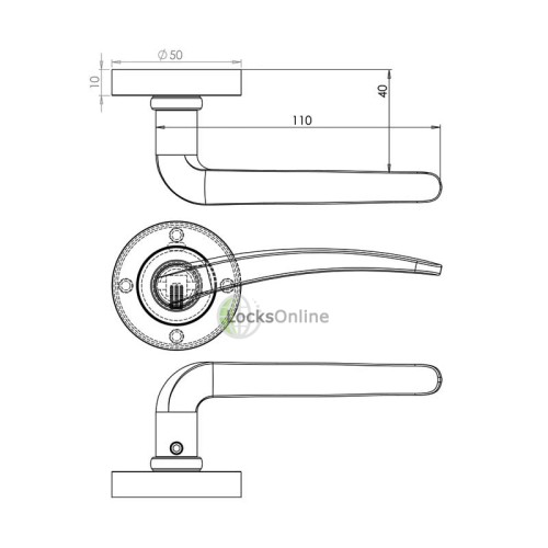 "LocksOnline ""Gull"" Lever Door Handle on Round Rosette"