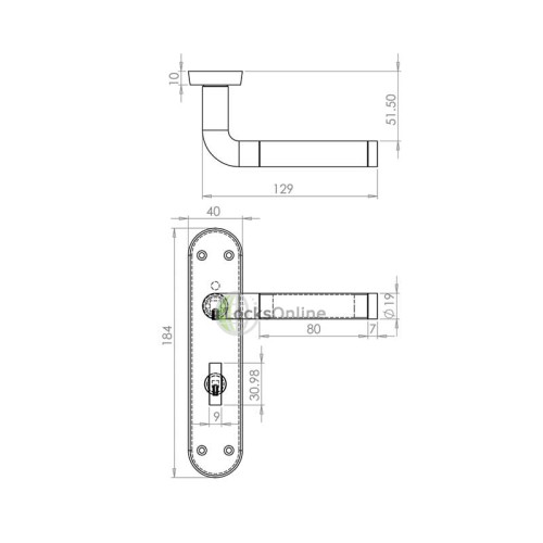 "LocksOnline ""Westminster"" Door Handle Set on Backplate"