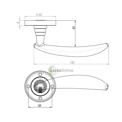 "LocksOnline ""Soffio"" Lever Handle Set on Round Rosette"