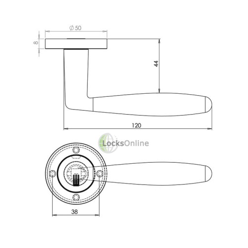 "LocksOnline ""Stylo"" Lever Handle Set on Round Rosette"