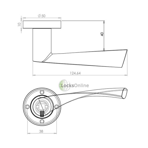 "LocksOnline ""Twirl"" Lever Door Handle on Round Rosette"