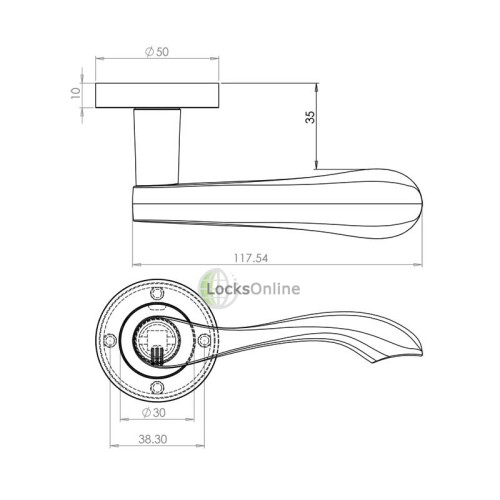 "LocksOnline ""Gamma"" Lever Door Handle on Round Rosette"