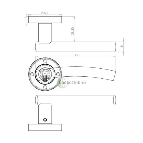 "LocksOnline ""Curve"" Lever Door Handle on Round Rosette"
