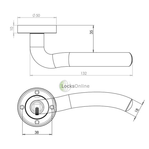 "LocksOnline ""Flow"" Lever Door Handle Set on Round Rosette"