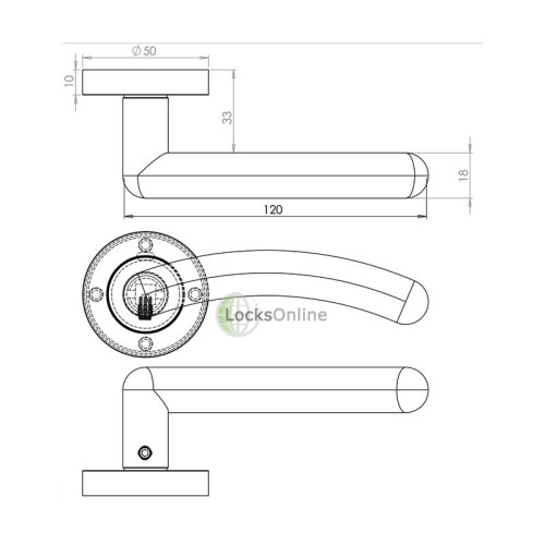 "LocksOnline ""Mailand"" Lever Handle Set on Round Rosette"