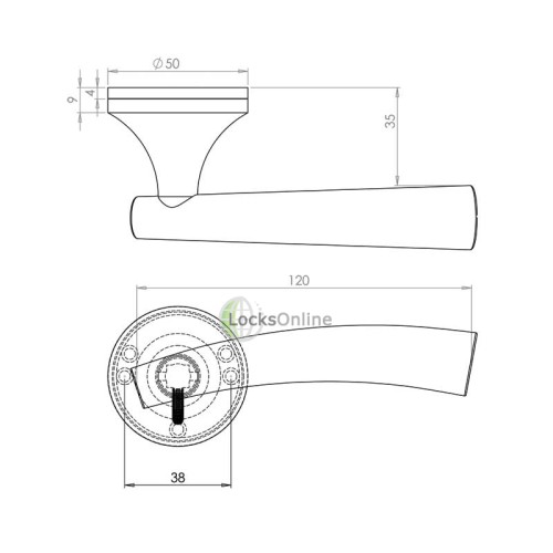 "LocksOnline ""Canto"" Lever Door Handle on Round Rosette"