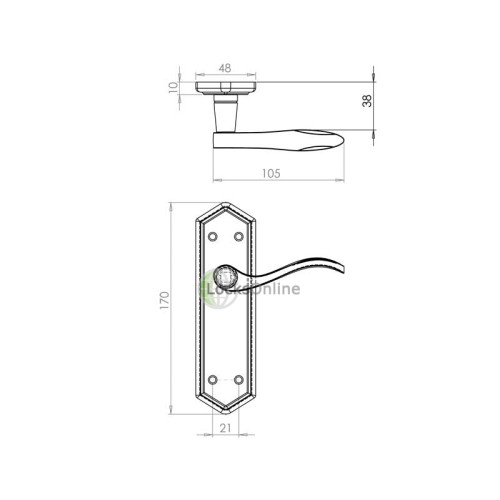 "LocksOnline ""Wentworth"" Pewter Door Handle Set on Backplate"
