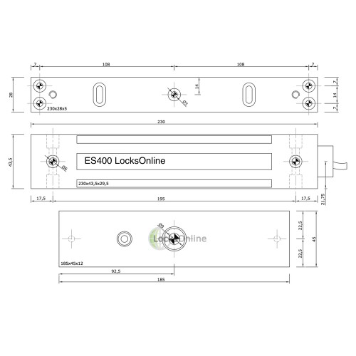 LocksOnline ES-Series Monitored External Surface Magnetic Lock (maglock)
