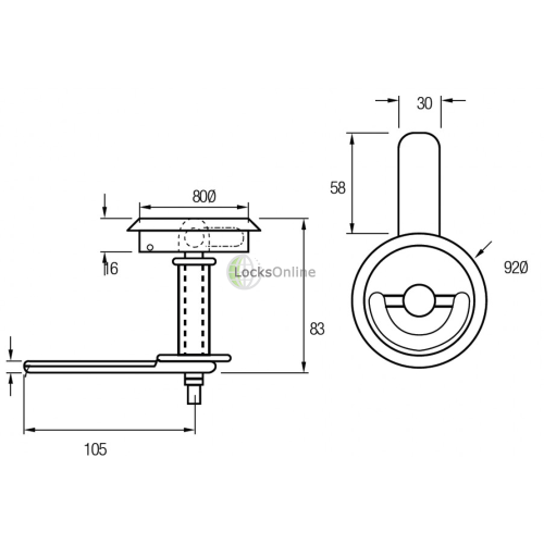 Hatch Securing Device with Drop Handle