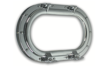 Oval Framed Opening Porthole in Brass or Chromium plated