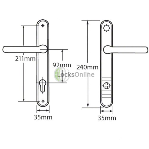 ASEC Kite 92PZ High Security PAS24 TS007 uPVC Handles - 240mm (211mm fixings)