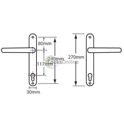 ASEC 117mm PZ uPVC Multipoint Door Handles - 270mm (240mm fixings)