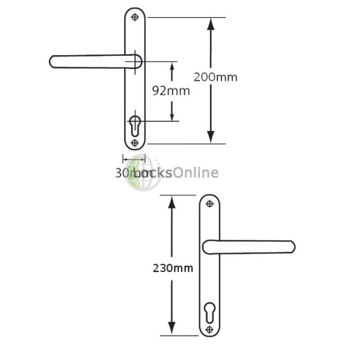 ASEC 92 PZ Front Door uPVC Handles to suit Roto - 230mm (200mm fixings)