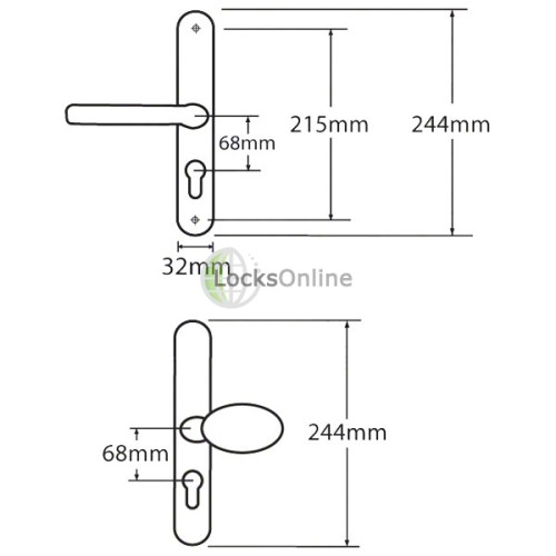 Fullex 68 PZ uPVC Lever & Pad Handles without Snib - 244mm (215mm fixings)