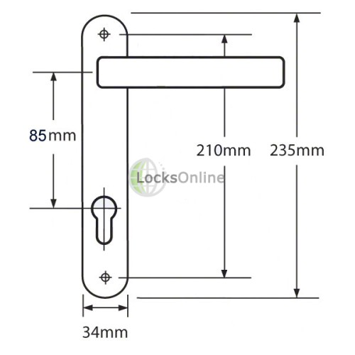 SIENNA 85 uPVC Door Handles - 235mm (210mm fixings)
