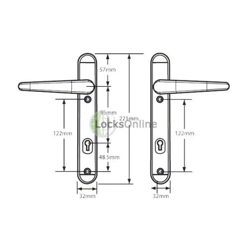 ERA Vectis Door Handles (95mm pz) - 221mm (122mm fixings)