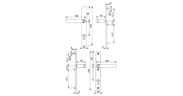 hoppe atlanta 92 pz 3-point fix upvc handles