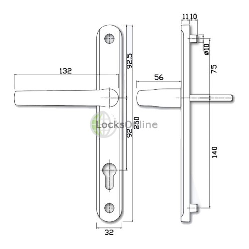 Alpha 92 PZ Sprung uPVC Door Handles - 250mm (215mm fixings)