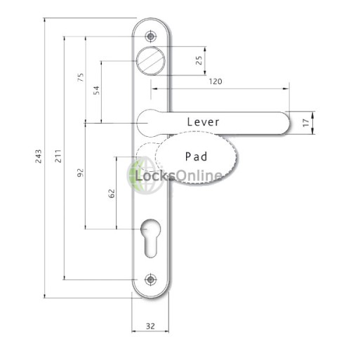 Fab & Fix Balmoral 92/62 Weather-Resistant Lever/Pad Handles with Snib - 243mm (211mm fixings)
