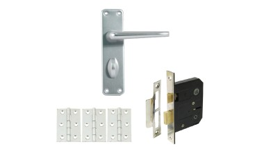 Contract Aluminium Bathroom Handle Set with Lock & Hinges