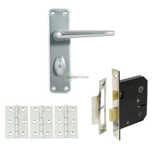 Main photo of Contract Aluminium Bathroom Handle Set with Lock & Hinges