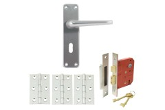 Contract Aluminium Handle Set with Sashlock & Hinges