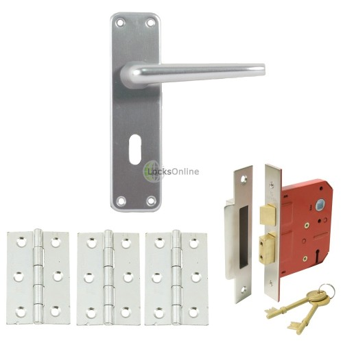 Main photo of Contract Aluminium Handle Set with Sashlock & Hinges