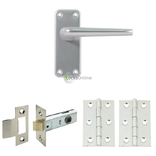 Main photo of Contract Aluminium Handle Set with Latch & Hinges