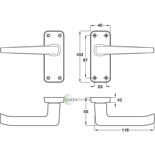 Contract Aluminium Handle Set with Latch & Hinges