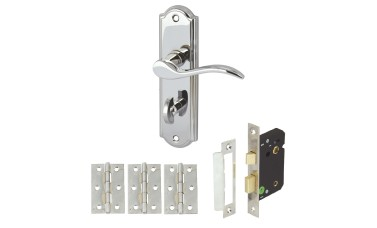 Elegance Bathroom Handle Set with Bathroom Lock & Hinges