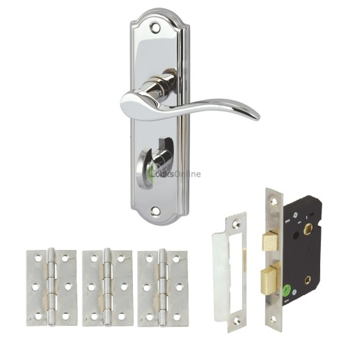 Main photo of Elegance Bathroom Handle Set with Bathroom Lock & Hinges