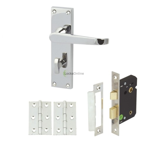 Main photo of Straight Victorian Bathroom Door Handle Set with Lock & Hinges