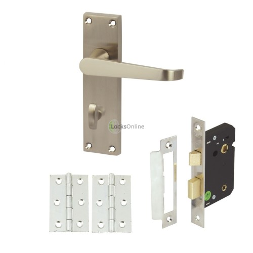 Buy Straight Victorian Bathroom Door Handle Set with Lock