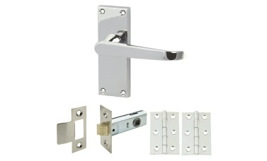 Straight Victorian Handle Set with Latch & Hinges