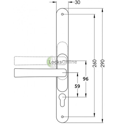 LocksOnline Flexi Adjustable PZ uPVC Lever Handles 290mm (260mm Fixings)