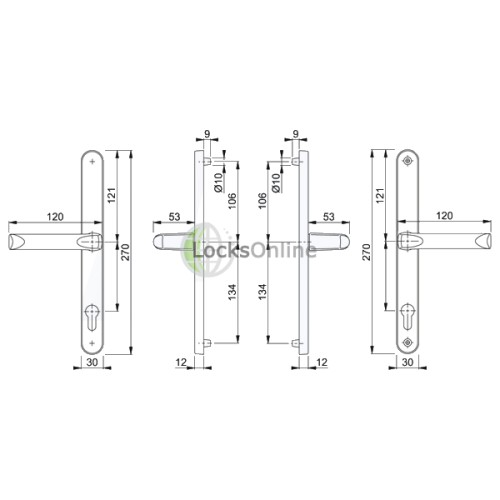 Hoppe 92mm PZ uPVC Handles - 270mm (240mm fixings)