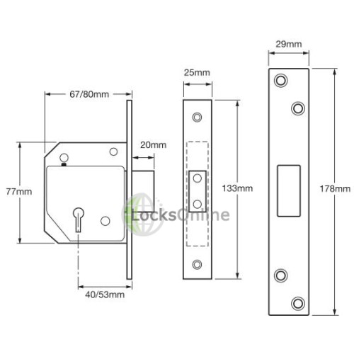 UNION C-Series 3G114E BS3621 5 Lever Deadlock