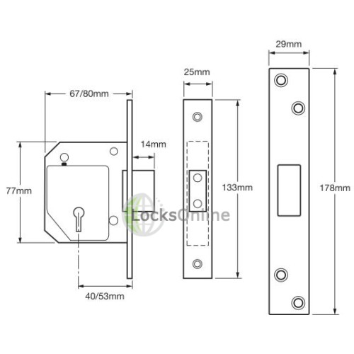 UNION C-Series 3G114 BS3621:2004 5 Lever Deadlock with Microswitch