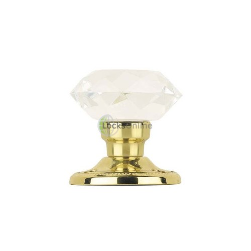 Main photo of Jedo Acrylic Faceted Mortice Knob Polished Brass