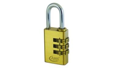 Asec Brass Open Shackle Combination Padlock
